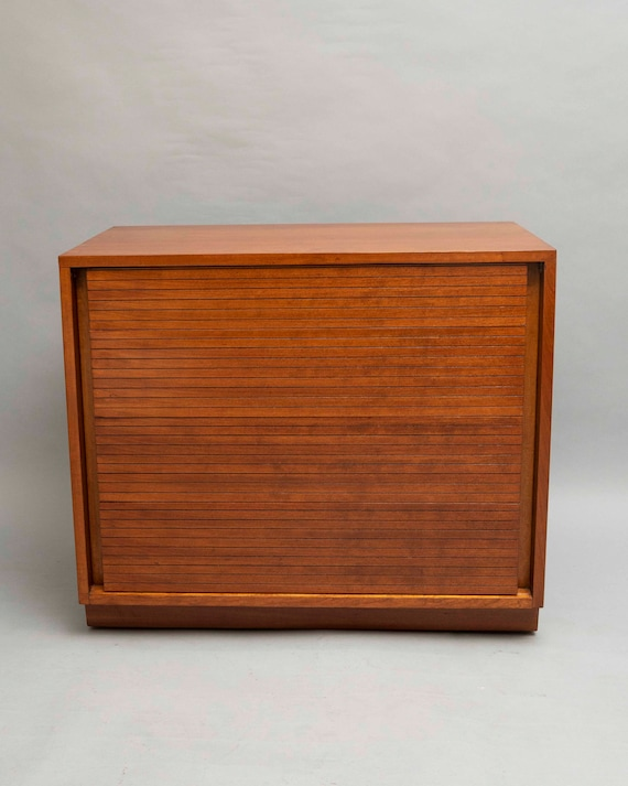 "Mid-Century teak dresser with 4 tambour drawers. Designed by ""Henredon"" Furniture 1960's Circa"