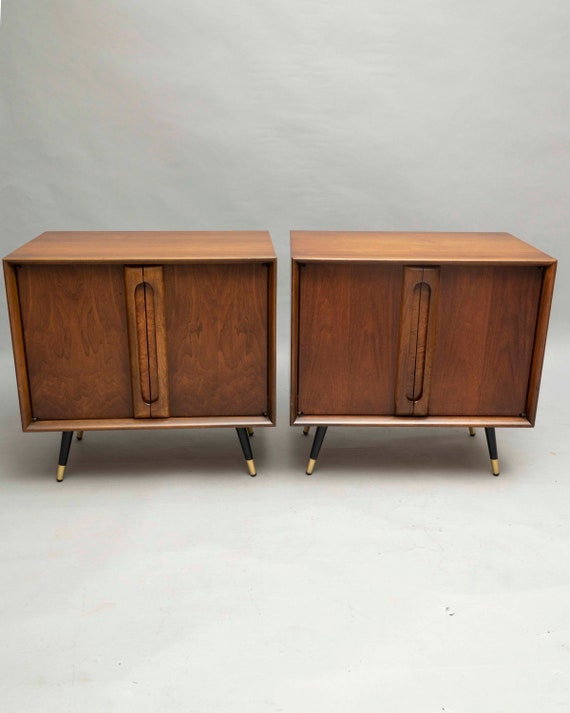 Mid-Century curated pair walnut nightstands 1960's Circa