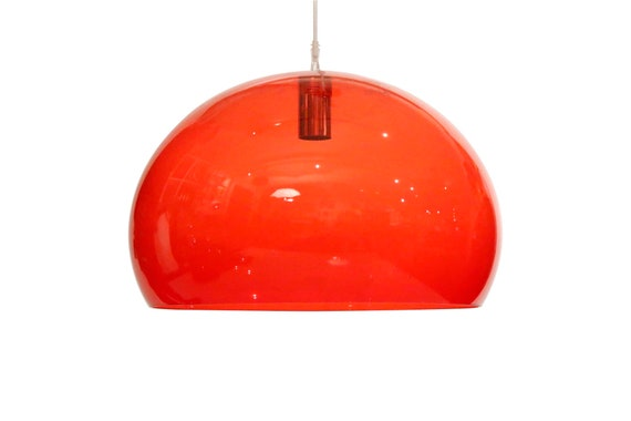 Mid century Italian Red lucite chandelier designed by Cartel Co.