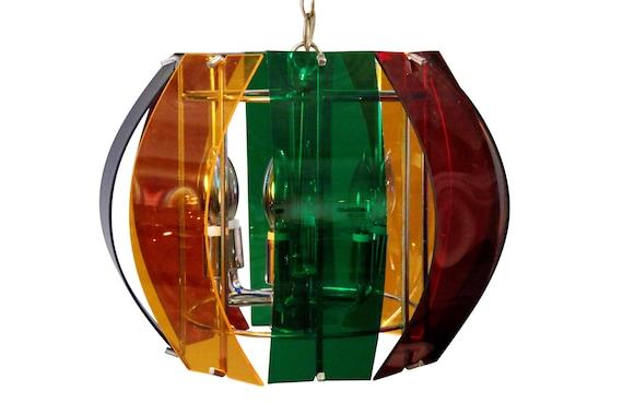 Mid-century multicolored Lucite chandelier 1970's circa