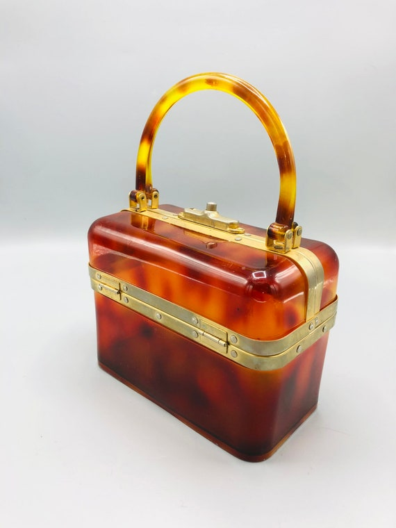 Vintage Lucite Tortoise Shell Makeup Case Pocketbook Made in France with Brass Details Closure