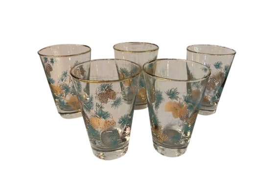 Mid-Century Tumbler Glassess Blue and Gold Set of 5