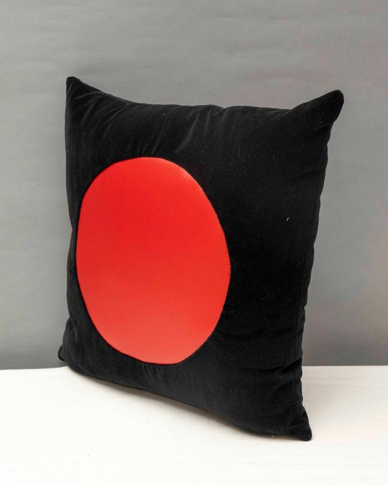 Black velvet with geometric red vinyl handmade pillow 16 x 16\u201dinches