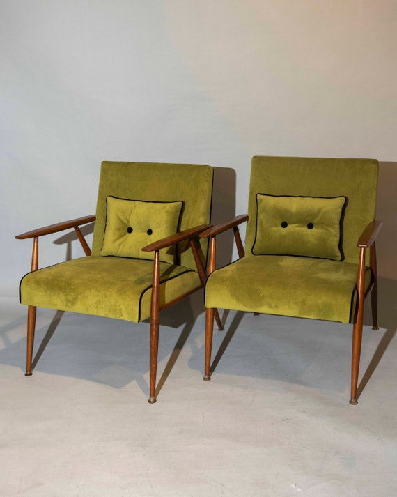 "Mid century curated pair lounge arm chairs with new green velvet upholstery designed by ""Thonet"". 1950' Circa"