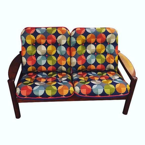 Mid-Century restored teak Love Seat with new fabric