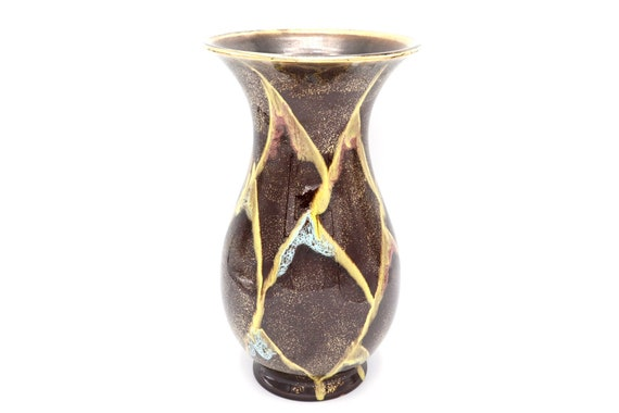 Mid-Century handpainted ceramic vase with brown and gold shades made by West Germany.