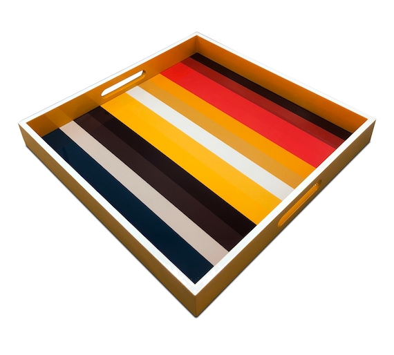 """Handmade contemporary lacquer wood tray with multi color abstract titled: """"Joyful Colors"""" designed by """"Magic Hill""""16"""" x 16"""" inches"""