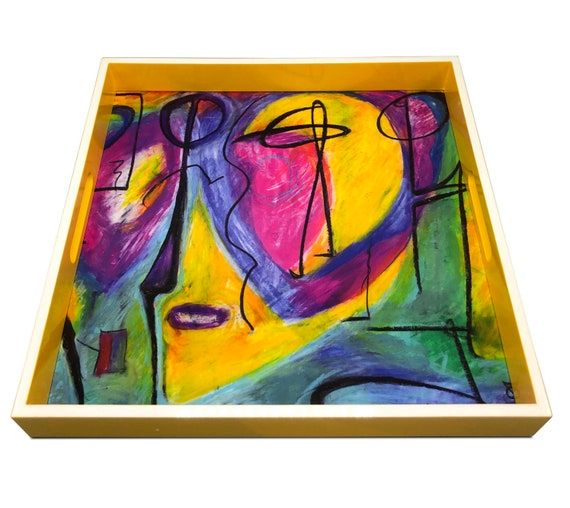 """Handmade contemporary lacquer wood tray with multi color abstract titled:""""MYRA"""" designed by """"Bruce Mishell""""16"""" x 16"""" inches"""