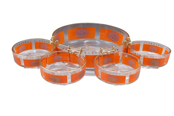 Mid-Century dip and chip set of 5 glass bowls serving in orange & gold shade 1970's