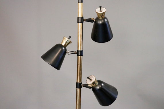 Mid century gold & brass ceiling floor lamp on a spring poll with three adjustable shades