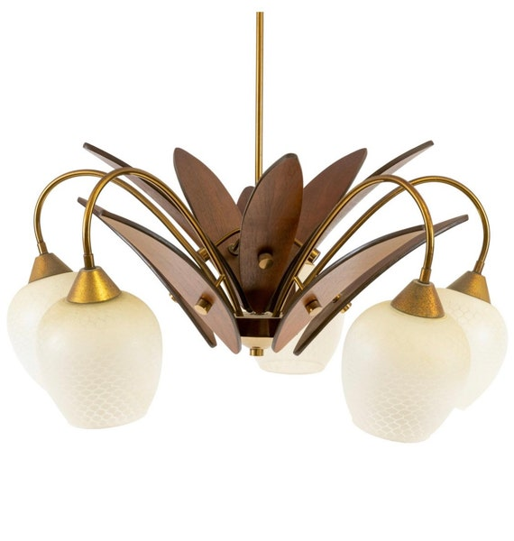 Mid-Century Danish design Walnut and brass chandelier with glass shades.