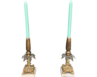Hollywood Regency marble and brass candleholders sticks Italian