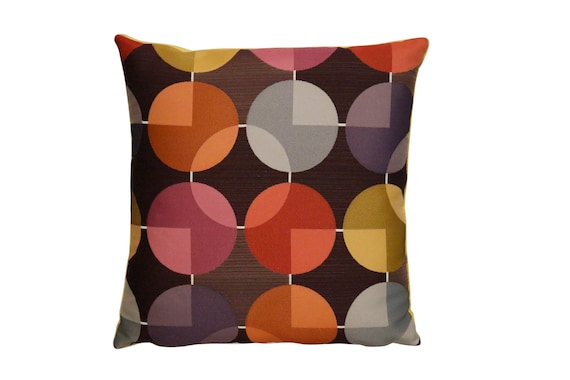 Mid century Retro made to order multicolored geometric pillow with yellow velvet in the back. 16x16