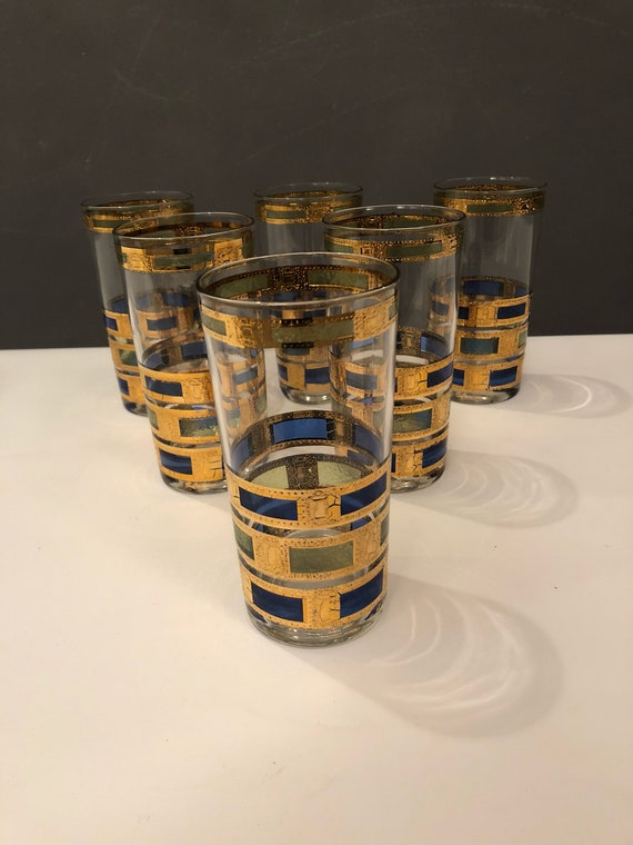 Beautiful rare mid century highball set of six 22K drinking glasses with gold blue green detail by Culver LTD