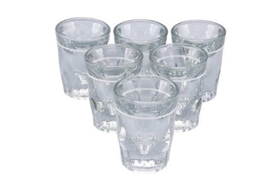 Mid century set of 6 heavy crystal clear shot glasses 1970's Circa