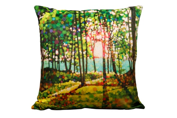 "Stunning modern handmade ""Kevin Conklin"" original art print on 18"" square velvet pillow. titled ""Magic Walk""."