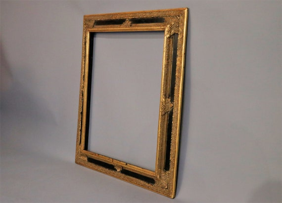 Antique Ornate gilt-wood frame gold and black 1930s Circa