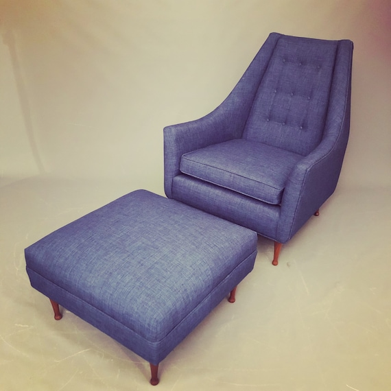 Mid-Century danish lounge chair plus ottoman with new royal blue cotton upholstery.
