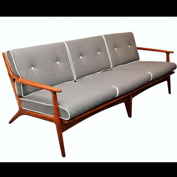 Mid century danish teak sofa with three cushions sections restored with new fabric