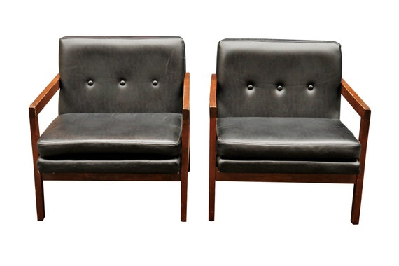 Mid century boxy club black leather chairs (4 available).