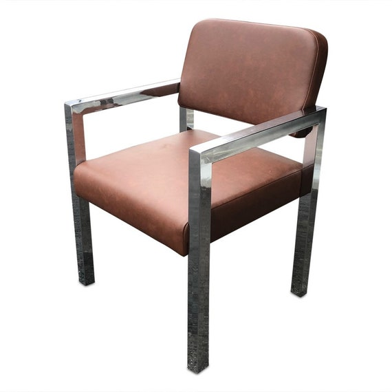 Mid century curated chrome office chair with new brown vinyl upholstery sturdy and heavy two available