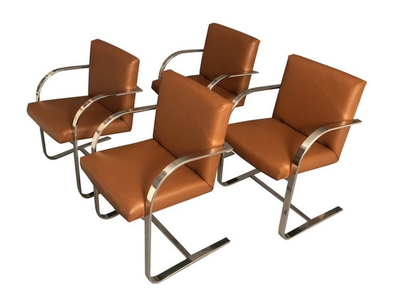 Mid Century Curated Bruno Style Chrome Chairs Set of 4