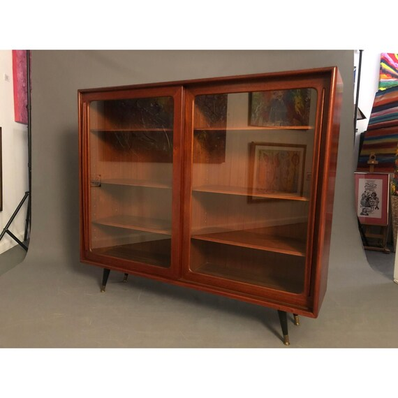 Mid Century Danish Teak Bookcase Hutch With Legs 1960 Circa