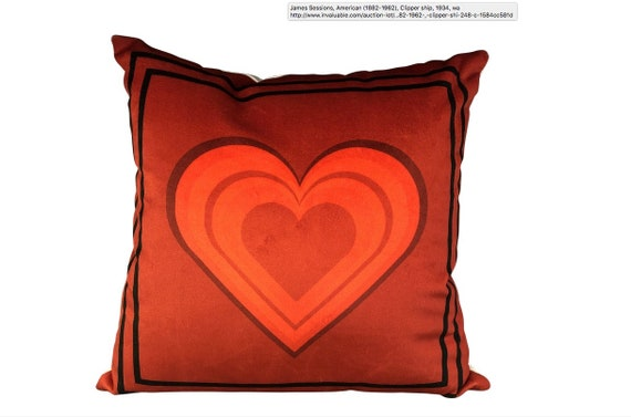 Handmade Red Velvet Heart Pillow