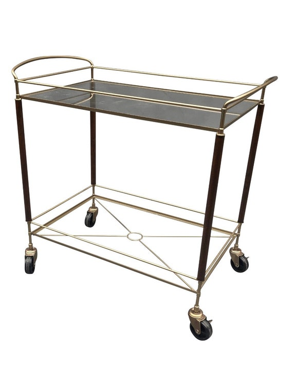 Stunning Two Tier Bar Cart. Glass shelves. Painted finish with teak wood accents.