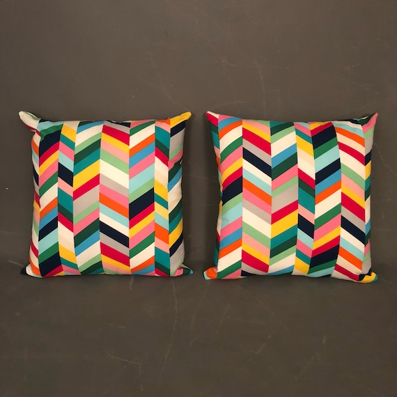 Pair of multi colored pillow with geometric print design.