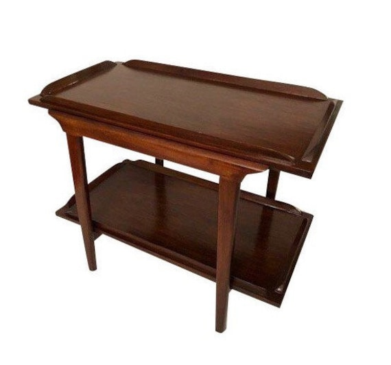 Mid-Century Walnut End Table/Coffee Table With Bottom Shelf