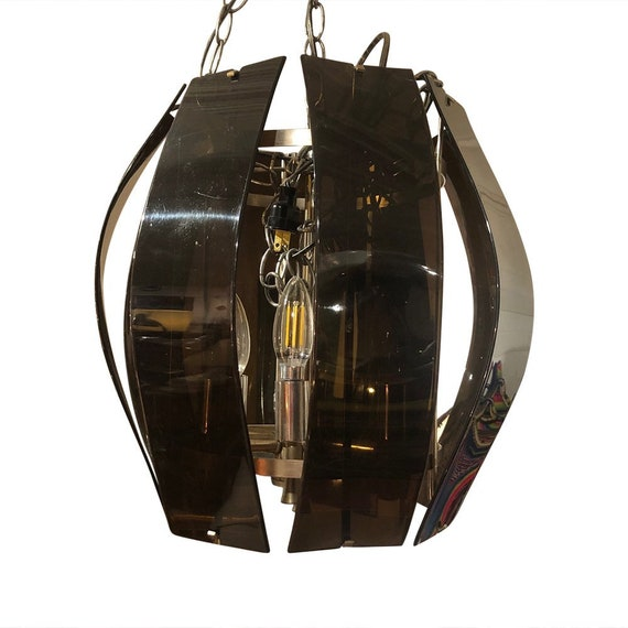Mid-Century Lucite chrome fixture lighting Pendant chandelier
