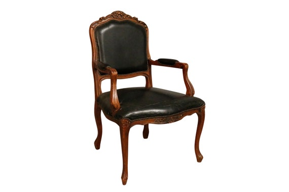 Antique queen-Ann traditional black lounge armchair with original black leather