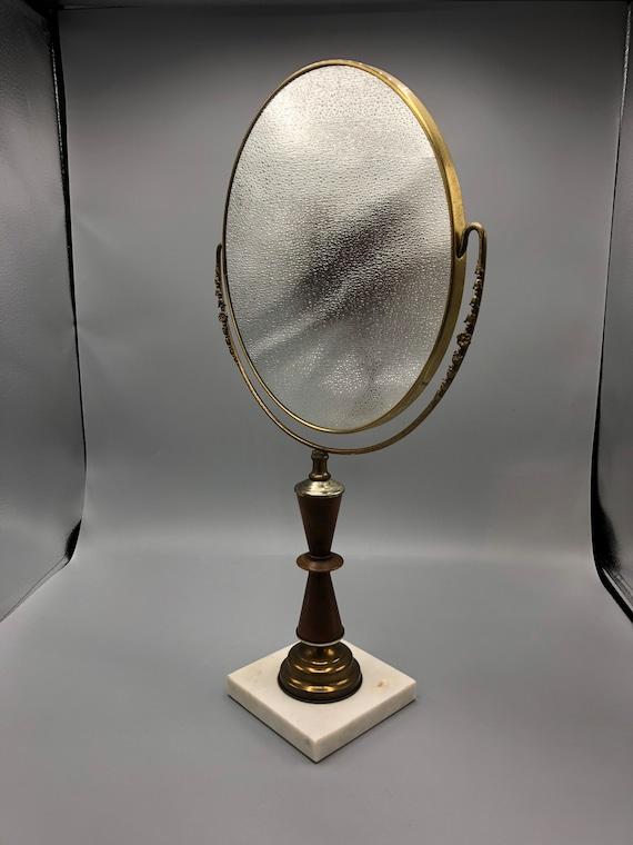 Art deco round adjustable mirror with marble base 1950's circa