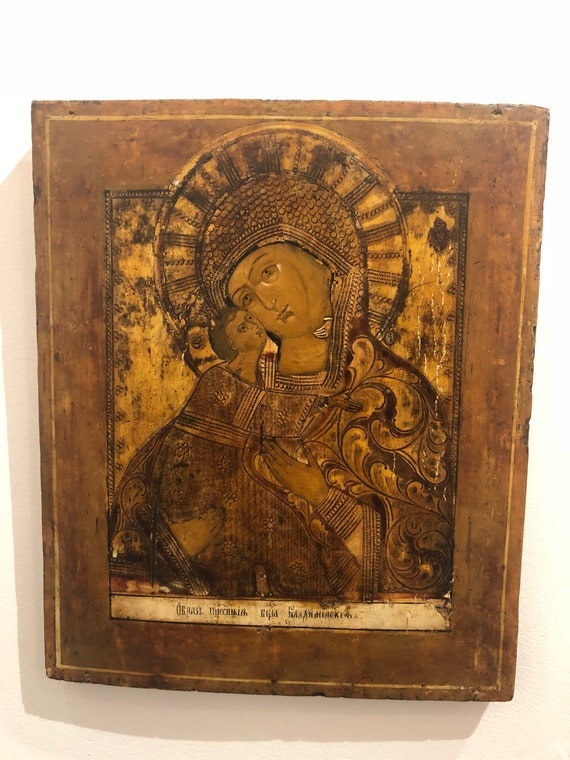 "Original wood craft Portrait ""Our Lady Of Vladimir"""