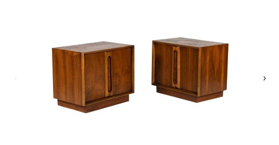1960s Mid Century Modern Walnut Nightstands - a Pair