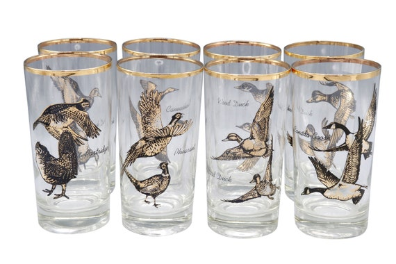 Mid century set of 4 Tumbler glasses with painted birds in gold and black 1960's Circa