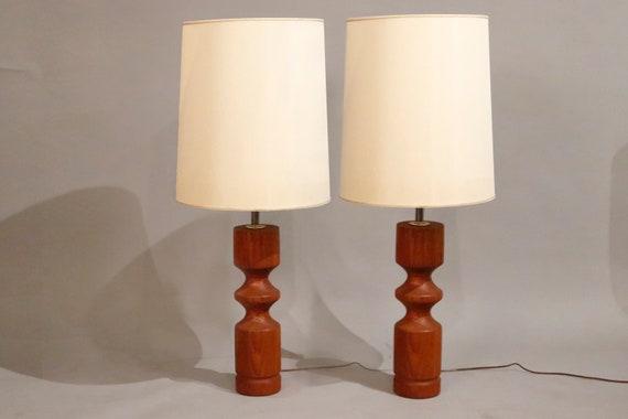Mid-Century pair of teak lamps with original shades 1970's Circa