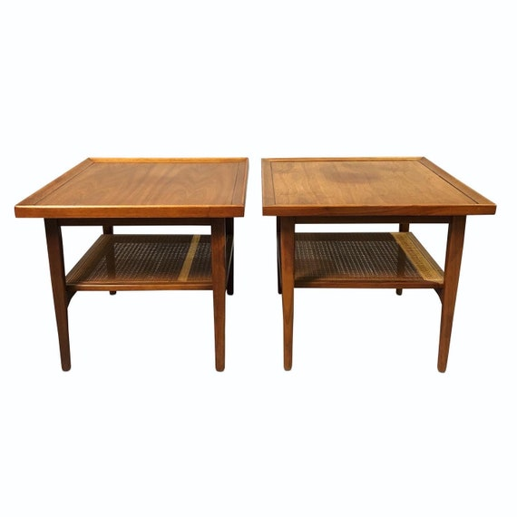 mid century pair end tables with canning on the bottom design by Drexler 1960s