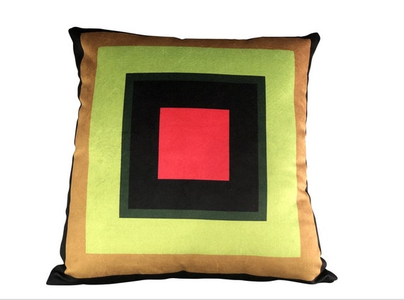 Contemporary Custom Made Geometric Square Velvet Pillow