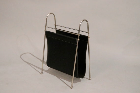 Mid century chrome and black leather magazine rack circa 1970s