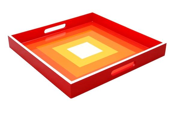"Contemporary laquared wood tray wirh geomentric square dedign by ""Myra Jackson"""