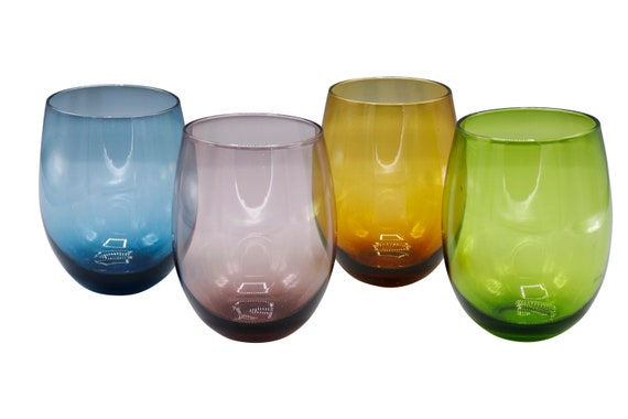 Mid-Century set of 4 lowball  multi colored glasses.  1960's Circa
