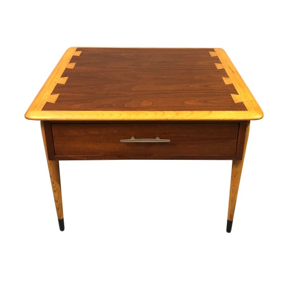 "Mid century one end table with a drawer Walnut design by ""Lane"" 1960 circa"