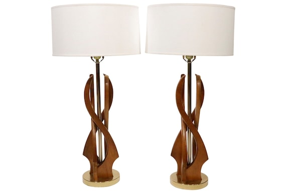 Curated Sculpture Mid century pair of table lamps Adrian Pearsall Style. 1960's