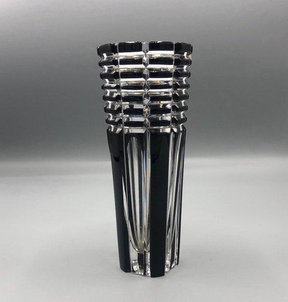 Mid century hand cut lead crystal art glass black Vase. Made in Czech republic Caesar Crystal Bohemia.