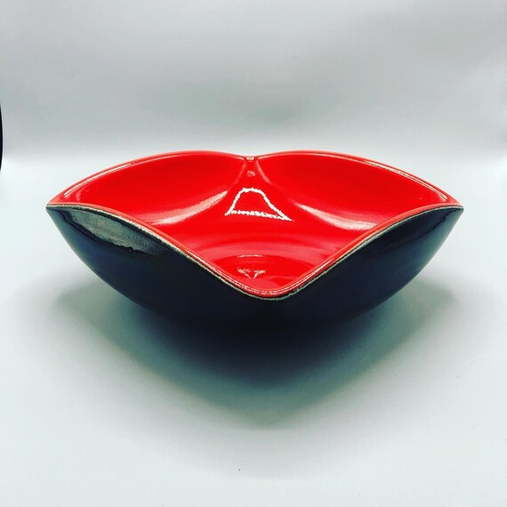Mid century handmade ceramic red and black mole made in France 1960s Circa
