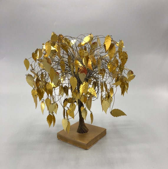 Mid-century Asian gold tree with gold leaves