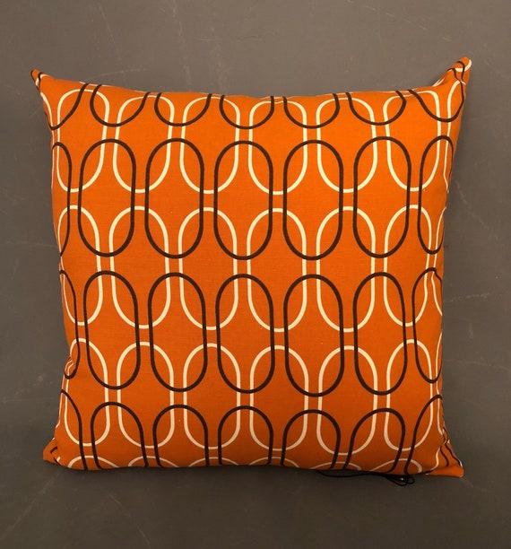 Stunning Pair of hand made modern geometric orange pillows.