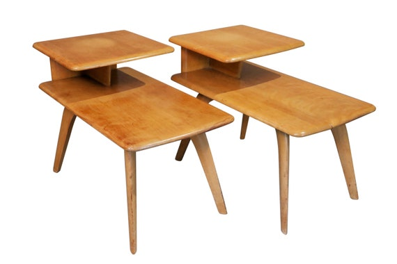 Mid-Century Heywood Wakefield two tiers Maple End Tables PAIR